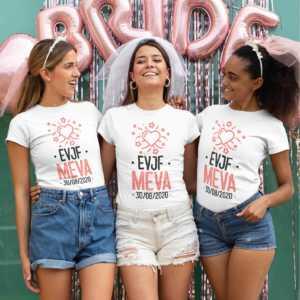 Teeshirt Femme - EVJF (Prénom + Date) Rose-Noir