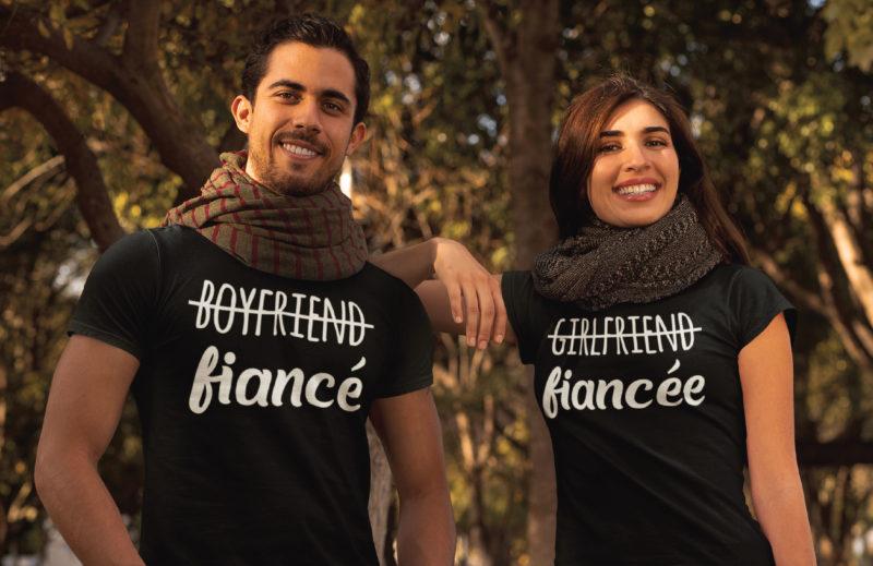 Pack 2 Tshirts - Boyfriend Fiancé - Girlfriend Fiancée