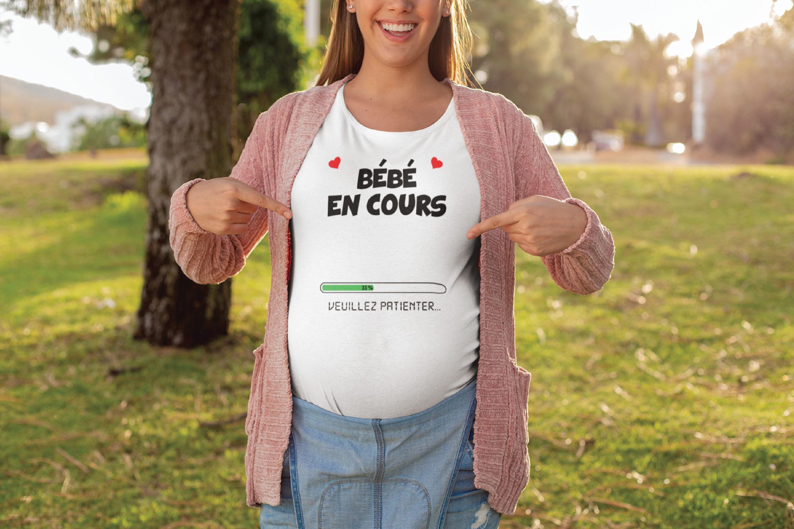 Teeshirt Femme - Bébé En Cours (Veuillez Patienter)