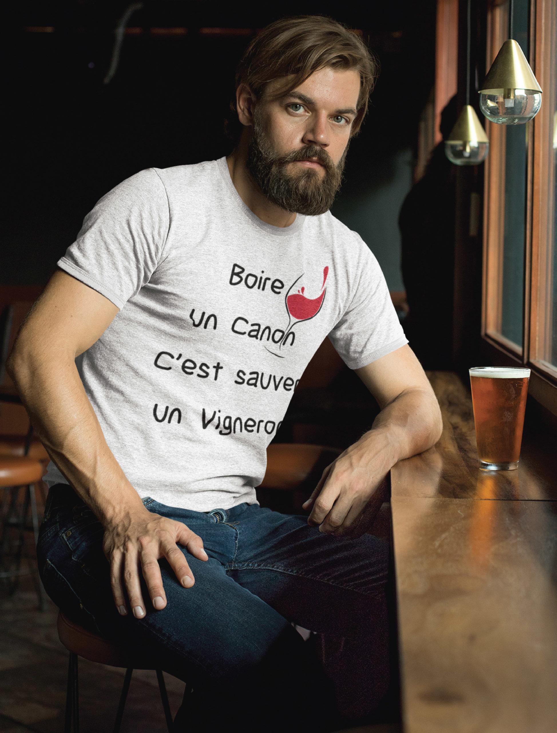 Teeshirt Homme - Boire Un Canon C'est Sauver Un Vigneron