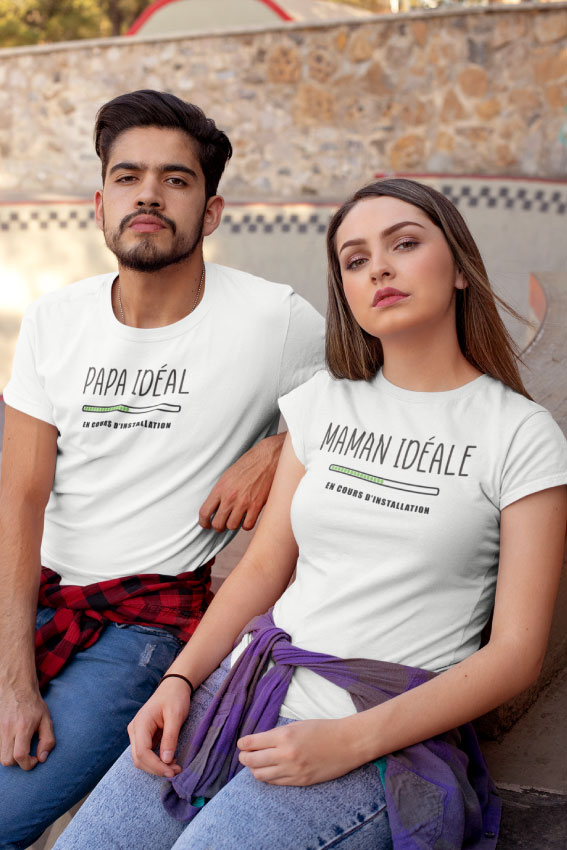 Pack 2 T-shirts - Papa Idéal - Maman Idéale