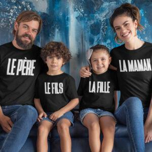 Pack 4 T-shirts - Le Père - Le Fils - La Fille - La Maman